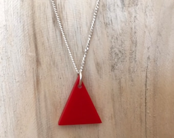 Red Snooker Ball Plastic Triangle Necklace on Sterling Silver Chain- Upcycled