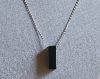 Buffalo Horn Black Necklace on Silver Chain - Simple - Geometric