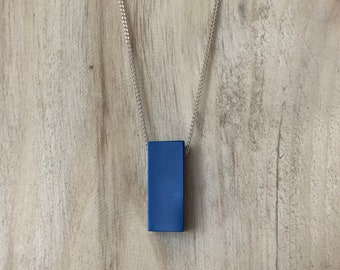 Blue Snooker Ball Necklace on Silver Chain - Blue Plastic Necklace