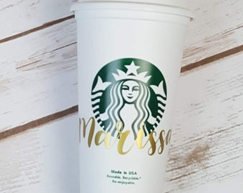 Starbucks Gold Script Name Bridal Party Custom Decal - Vinyl Decal on Authentic Starbucks Reusable Cup