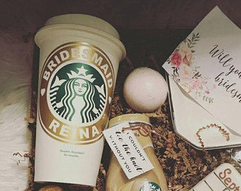 Starbucks Bridal Party Custom Vinyl Decal on Authentic Starbucks Reusable Cup - w/ Free Ring Decal for Lid - Hot Cup with Decal