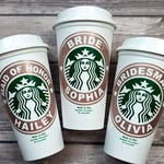 Starbucks Glitter Vinyl Bridal Party Custom Decal - Glitter Vinyl Decal on Authentic Starbucks Reusable Cup - Ring Decals Included