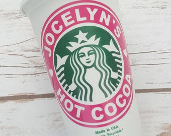 Personalized 16 oz Starbucks Reusable Cup with Custom Vinyl Decal or Decal Only