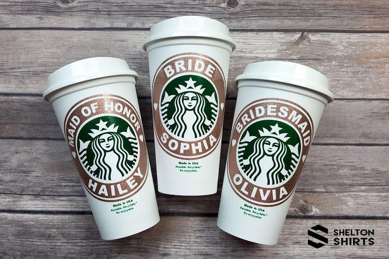 Starbucks Glitter Vinyl Bridal Party Custom Decal  Glitter image 0