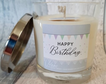 Happy Birthday Soy Wax Candle   choice of fragrance   100% soy wax hand poured UK, vegan friendly, sustainable packaging, strong, clean burn