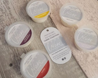 2021 Classic Collection   5 x Soy Wax Melt Pots   100% soy wax hand poured in UK, vegan friendly, sustainable packaging, highly scented