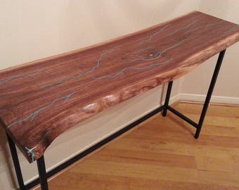 Live Edge Walnut Table with Turquoise Inlay