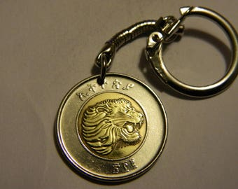 Ethiopia Birr Coin Keyring Coin Keychain Lions Head Weighing Scales Bi-Metallic Coin