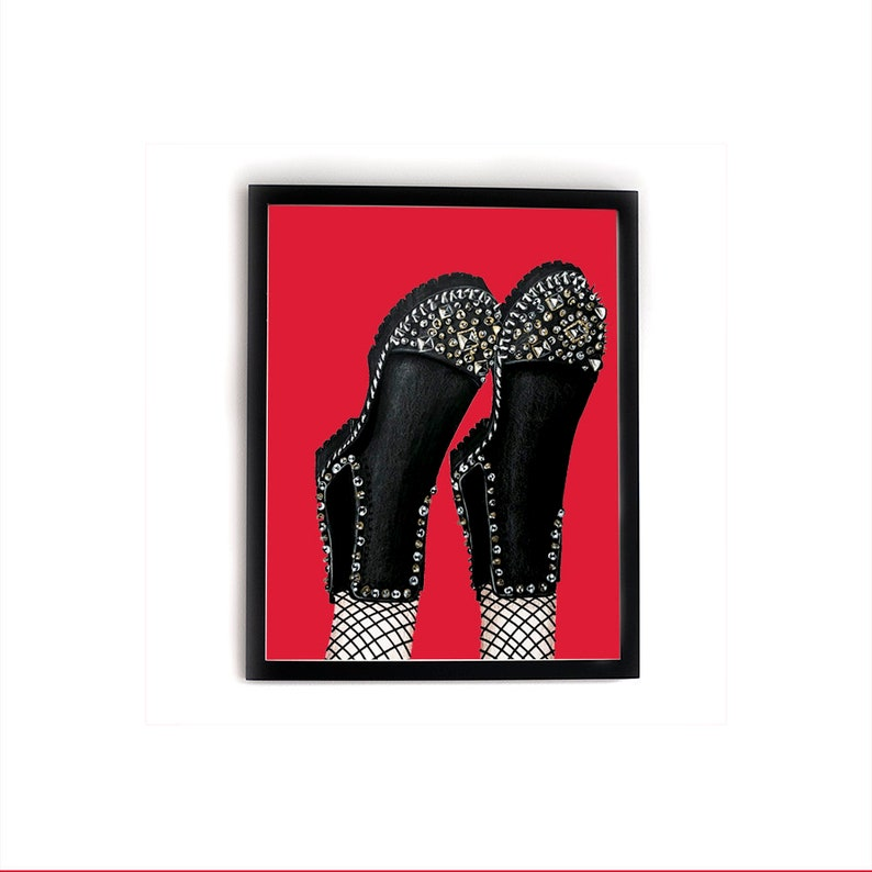 wholesale dealer 40dad 383a1 STUDS N SPIKES - Christian Louboutin Fashion Shoe Print - Black Combat  Boots with Studs and Spikes - Fishnet Tights - Shoe Art - Shoe Lover