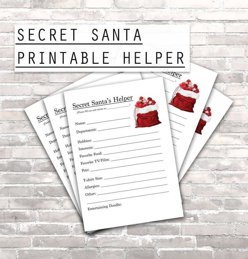 picture about Secret Santa Printable Forms identify Magic formula Santas Helper. Printable Magic formula Santa kind. Fast electronic obtain. Best for the the workplace, places of work, universities or pals!
