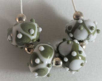 Lampwork Bead Set Handmade Olive Green and Peace White, Set of 4