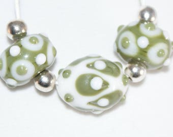 Handmade Lampwork Bead Set, 3 Beads, Olive Green and Peace White