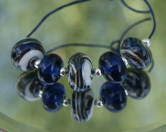 Lampwork Bead Set, White, Olive Green and Navy Blue