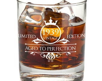 1939 80th Birthday Gifts For Women And Men Whiskey Glass