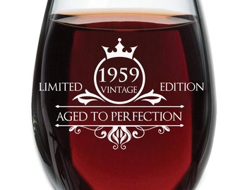 1959 60th Birthday Gifts for Women and Men Wine Glass - Anniversary Gift Ideas for Mom Dad Husband Wife