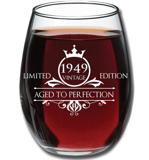 1949 70th Birthday Gifts For Women And Men Wine Glass Anniversary Gift Ideas For Mom Dad Husband Wife