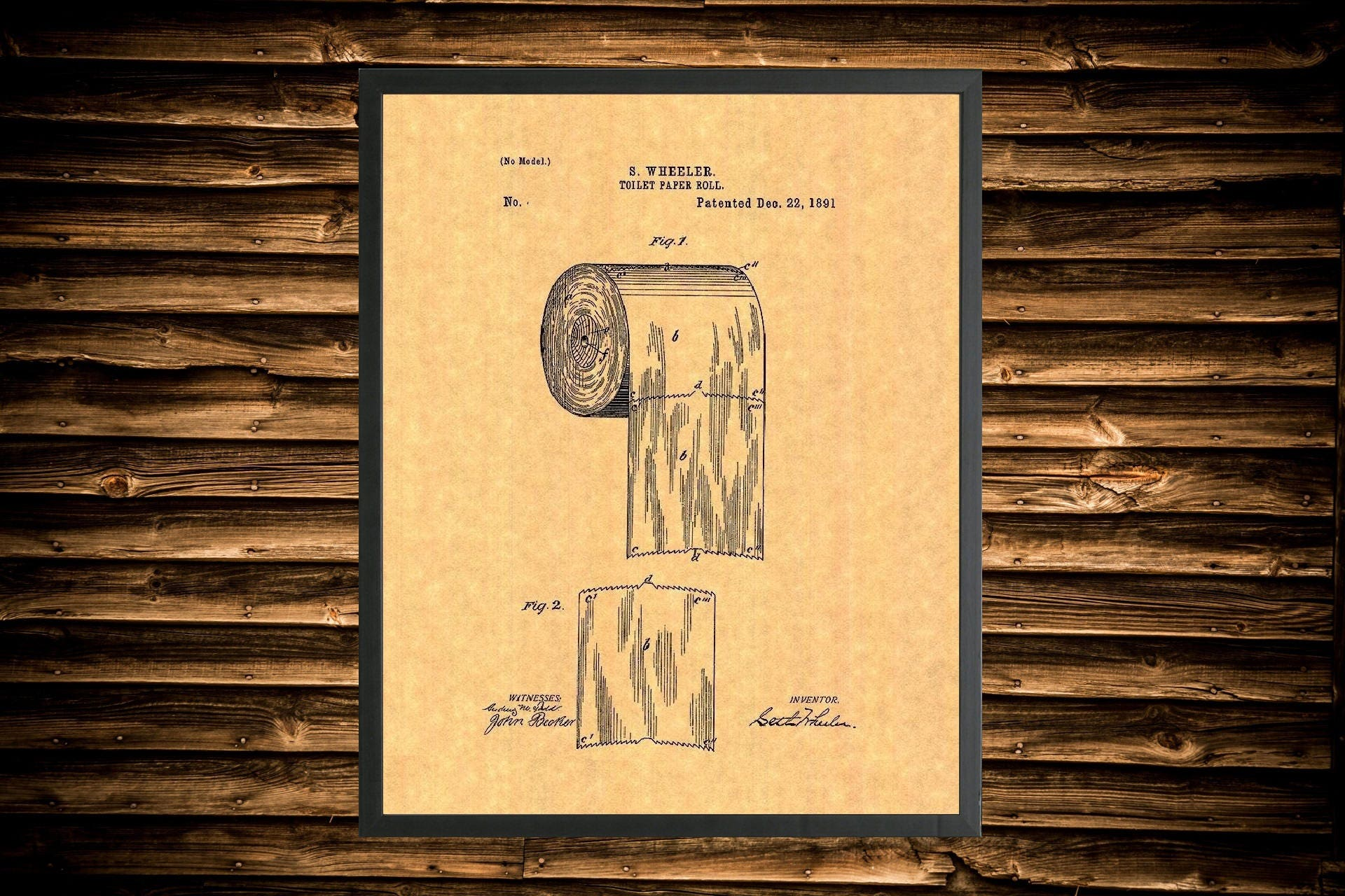 Framed Toilet Paper Roll Patent Print Multiple Sized Frames | Etsy