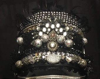Blackout Silver Disco Witch Marching Band Festival Hat