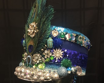 Blue and Green Peacock Marching Band Festival Hat Burning Man