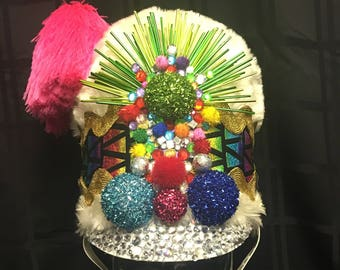 Psychedelic Rainbow Party Sargent Band Leader Festival Hat