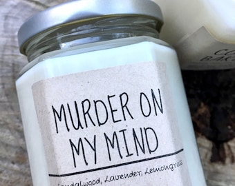 Sandalwood Lemongrass Lavender Murder on My Mind Candle ,Natural Soy Wax Candle, 8,10,12 oz  Jar Hand Poured, Home Scents, Relaxation, Trave
