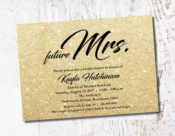 Future Mrs Gold Glitter Glitsy Bridal Shower Bachelorette Etsy