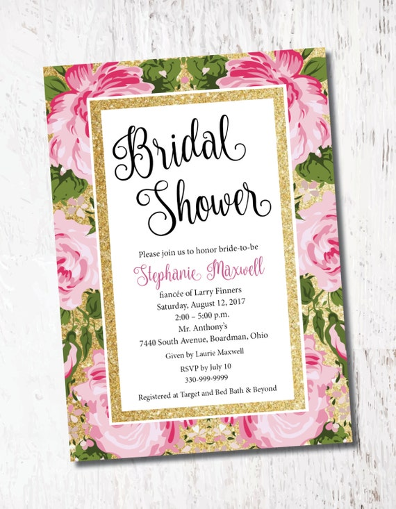 Pink Gold Glitter Floral Roses Bridal Baby Shower Event Etsy