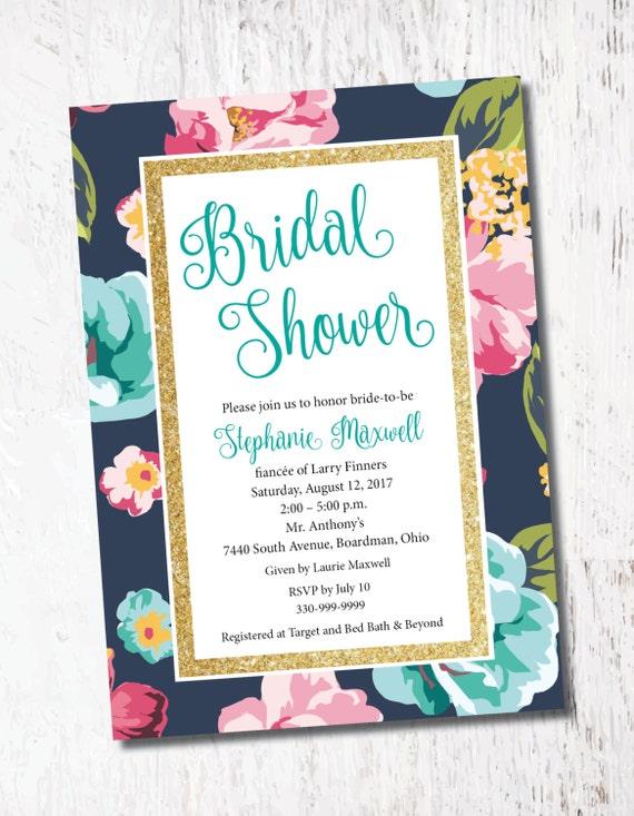 Blue Pink Floral Vintage Glitter Bridal Baby Shower Event Etsy
