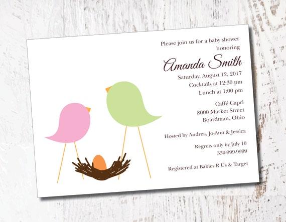 Birds Nest Retro Bridal Baby Shower Event Printable Custom Etsy