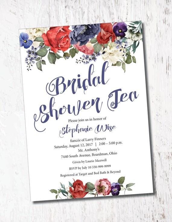 Vintage Floral Roses Bridal Baby Shower Event Printable Custom Etsy