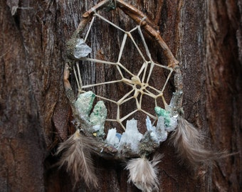 Rose Quartz and fuchsite little Dream Catcher