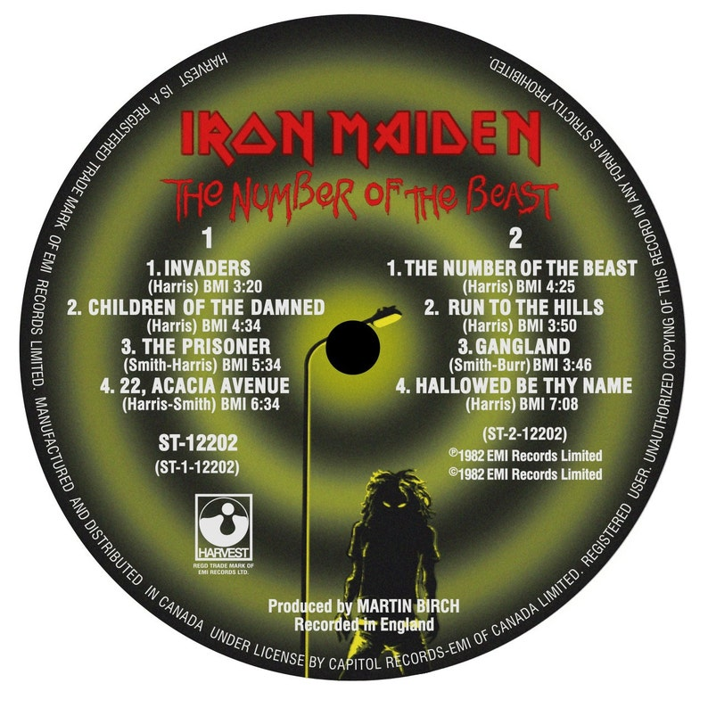 5b19df17 Iron Maiden The Number of the Beast LP Label Sticker | Etsy
