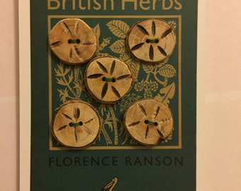 Handmade buttons - set of 5, on Penguin postcard