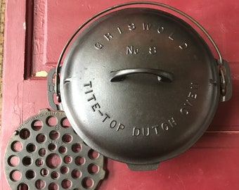 Griswold Cast Iron #8 Dutch Oven, Lid and Trivet p/n 833 K