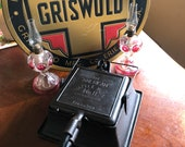 Antique Griswold The American No 11 Square Waffle Iron p n 988 989 Tall Base 987