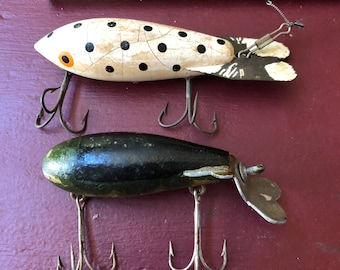 Vintage Wooden Unmarked Fishing Lures Lot of 2