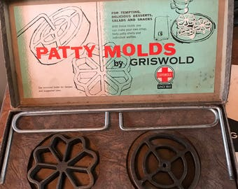 Griswold Cast Iron Patty Mold Set with Directions