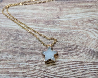 Star necklace. Druzy natural agate star necklace. Druzy stainless steel Necklace. Simply Forever