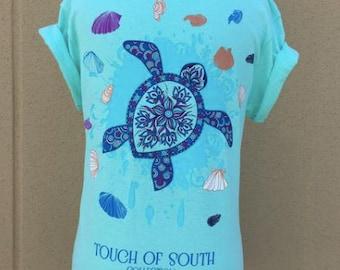 Blue Turtle, Short Sleeve, Sea Foam Green.