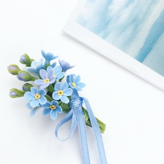 Forget me not boutonniere blue flower boutonniere blue etsy image 0 freerunsca Image collections