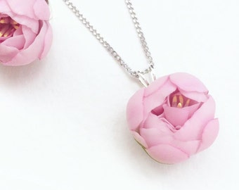 Pink peony pendant Floral Jewelry  Floral Necklace Pink peony Necklace rose quartz peony wish necklace flower jewelry statement necklace