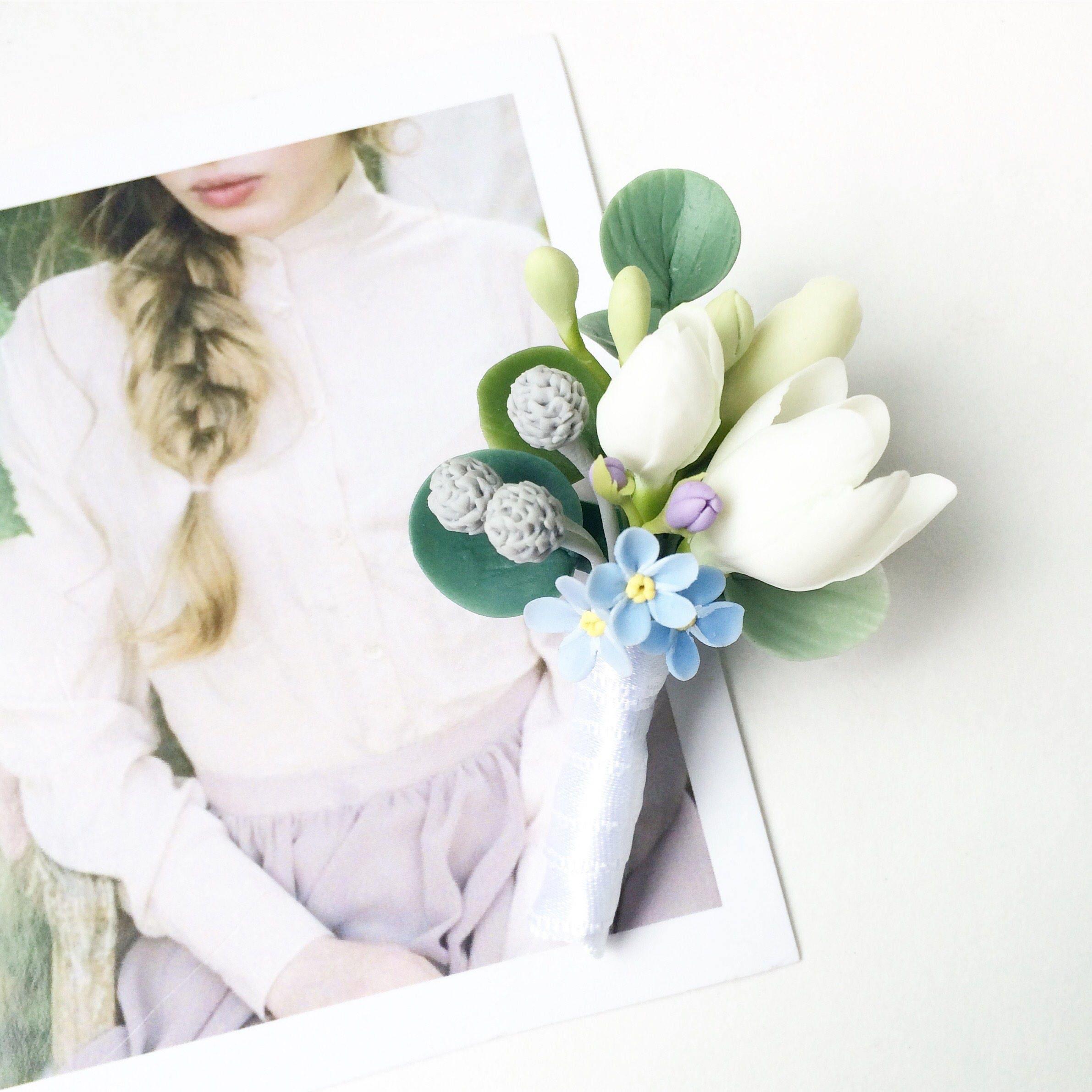 Flower Boutonniere White Flower Boutonniere Floral Etsy