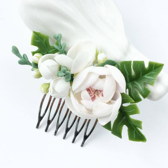 Tropical wedding comb white flower comb bridal comb monstera etsy image 0 mightylinksfo