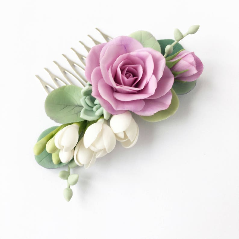 Purple rose hair comb succulent hair comb lilac flower hair piece wedding hair comb mint and purple wedding headpiece bridal comb succulent