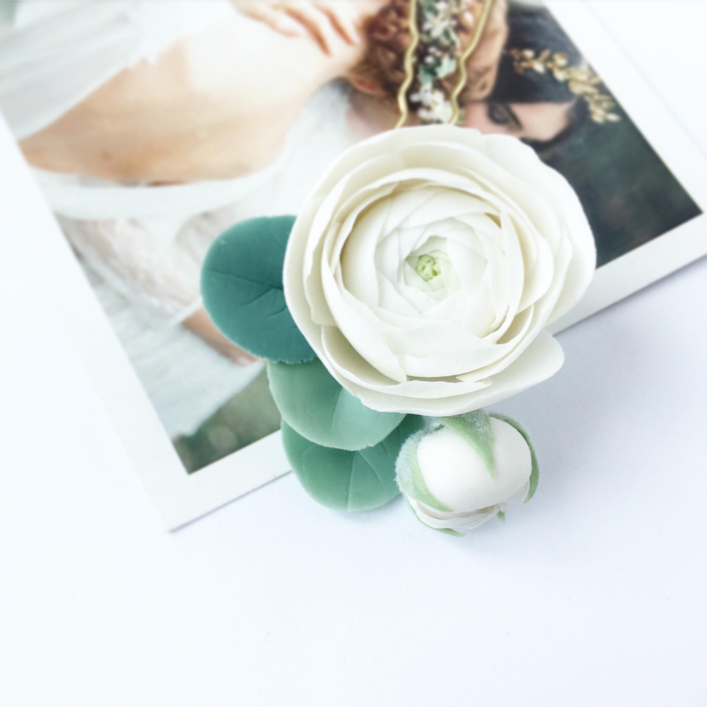 Ivory Flower Hair Pin White Ranunculus Hair Piece White Etsy