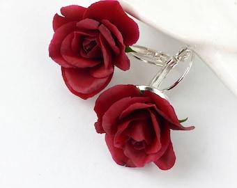 Burgundy rose earrings dark red earrings marsala earrings blush and burgundy earrings flower bridal earrings fall wedding floral earrings