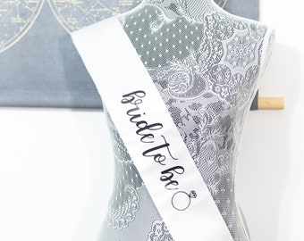 Bridal Shower Sash for the Bride, Bride to Be Sash Bachelorette, Bachelorette Sash, Bride Sash, White Bride Sash, Bridal Shower Supplies