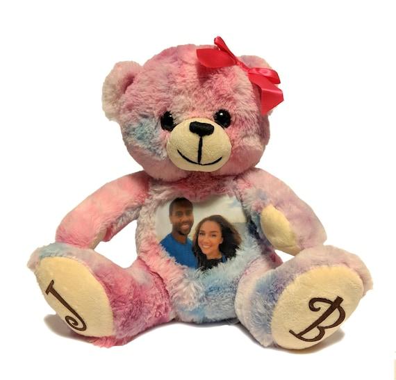 Tie Dye Teddy Bear Keepsake teddy Memory Photo Teddy Bear Photo /& voice teddy bear Pink bear Cuddle Buddy Custom Stuffed Animal