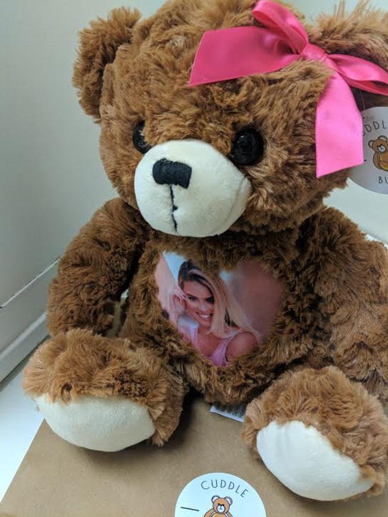 with Bow  custom teddy bear  bereavement bear  photo teddy bear  personalized plushy CuddleBuddy JR