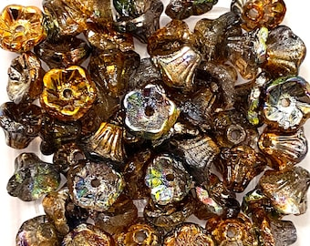 50 5x7mm Bell Flowers Pastel Lt Coral Czech Designer Beads